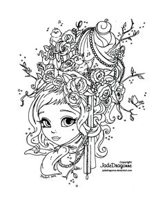 Spring maid - Lineart (updated) by JadeDragonne.deviantart.com on @DeviantArt
