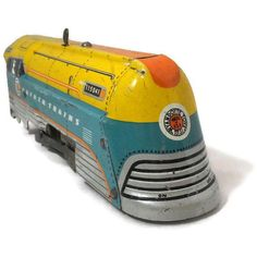Vintage Toy Train - Tin Lithographed, Hafner Wind up Toy, Steam Engine 115041 - - Metal Toys, Tin Toys, Antique Toys, Vintage Toys, Vintage Games, Trains For Sale, Model Trains, Toy Trains, Classic Toys