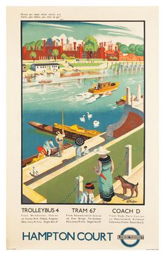 Hampton Court Travel Poster Poster Paper Sticker or by WallArty