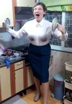 Well now you can dress like Mrs. Doubtfire, hot flashes not included.   The Ultimate Mrs. Doubtfire Halloween Costume