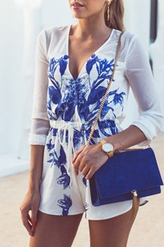 Floral Plunging Neck Long Sleeve Chiffon Playsuit BLUE AND WHITE: Jumpsuits & Rompers | ZAFUL