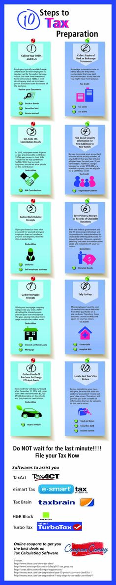 10 Steps to Tax Preparation Infographic
