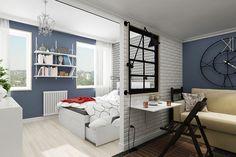 Установив в комнате небольшую перегородку можно разбить помещение на две разные зоны