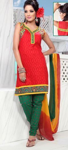 $59.71 Red Sleeveless Cotton Short Punjabi Salwar Kameez 18718