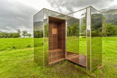 "This small, mirrored cabin is called ""The Lookout."" Built by Architecture students at Glasgow's Strathclyde University, the building is designed to blend in perfectly with Scotland's Loch Lomond and Trossachs National Park."