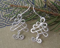 Celtic Tree Sterling Silver Wire Earrings ,Christmas Tree, Celtic Jewelry, Holiday, Tree of Life, Celtic Knot, Celtic Jewelry by nicholasandfelice on Etsy https://www.etsy.com/listing/114029139/celtic-tree-sterling-silver-wire