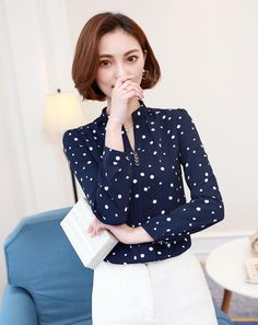 ed84af59884 Aliexpress.com   Buy New Autumn Fashion 2017 Women Blouse Long Sleeve Polka  Dots Chiffon Shirts OL Work Casual Shirt Blouses Top Female Plus Size 3XL  from ...