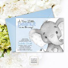 Elefante azul bebé ducha invitación es un muchacho elefante