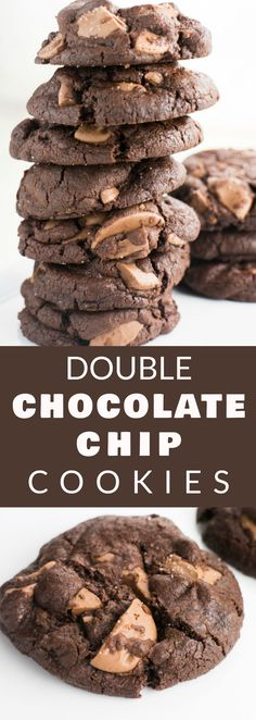 Double Chocolate Chip Cookies Brooklyn Farm Girl Double Chocolate Chip Cookies Brooklyn Farm Girl Kelsey Hawkins huntresskelsey Food DOUBLE Chocolate Chip Cookies Live dangerously with these nbsp hellip chip cookies softest Cookie Recipes From Scratch, Best Cookie Recipes, Best Dessert Recipes, Sweets Recipes, Pie Recipes, Dessert Ideas, Easy Desserts, Recipies, Homemade Chocolate Chips
