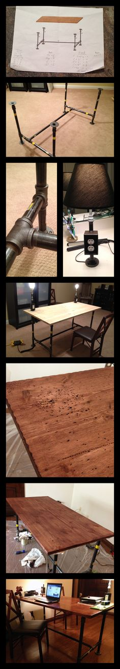 Built this desk from plumbing parts and a piece of hand distressed solid pine.  Great look for cheap!