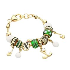 Golf Dangle Charm Bead Bracelet * Click image to review more details.