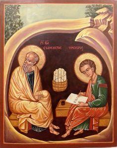 Szent János evangélista a  Jelenések könyvét diktálja  Prohorosznak Oroszország XV. század