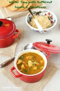 Hearty, but low in calories.  Winter Soup with Butternut Squash & Cauliflower | cookincanuck.com #vegetarian #vegan #glutenfree