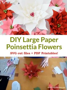 How to make easy and beautiful paper poinsettias for your Holiday decor! Use the SVG cut files for this perfect Cricut Christmas craft or you can cut these poinsettia templates with scissors and the printable PDF files! Download here!
