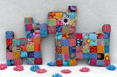 Patchwork Pillow Tutorial Pattern - Scotty Dogs Mama and Baby Flatty Dogs © by La Todera