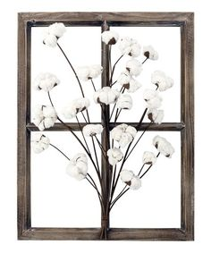 Decorate your home in country style with the American Mercantile Wood Window Frame Wall Decor with Cotton Bouquet . Designed to recall a classic farmhouse. Window Frame Decor, Wooden Window Frames, Wooden Picture Frames, Wood Windows, Picture On Wood, Frames On Wall, Picture Wall, Timber Frames, Cotton Bouquet