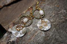 pearl and jasper shell coin earrings £7.50