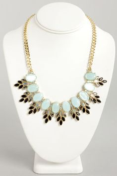 Frost in Space Blue Rhinestone Necklace at LuLus.com!