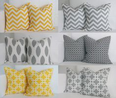 Ahhhh!! NICE!!! SIX Yellow and Gray Pillows Decorative Throw Pillow Covers for Grey and Yellow Accent Pillows 16x16. $90.00, via Etsy.