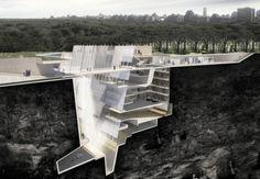 Projeto subterrâneo no Central Park, em Nova York, ideia do estudante de arquitetura e design Jeff Kamuda, da Syracuse University, nos EUA.