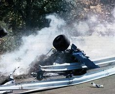 Overall view of guardrail collision that killed Francois Cevert during Saturday morning trials session at Watkins Glen Grand Prix Race Course. Cevert was died after a fatal crash on the uphill Esses. F1 Racing, Drag Racing, Grand Prix, Le Mans, F1 Crash, F1 Motor, Watkins Glen, Formula 1 Car, F1 Drivers