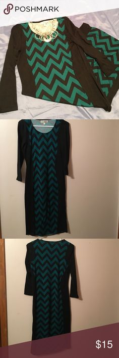 "Small sweater dress Small sweater dress/ green and black/ length 39"" Dresses Midi"