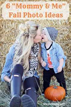 """If you're a photo-fanatic mom like me, you'll love these """"mommy & me"""" fall photo ideas!"""
