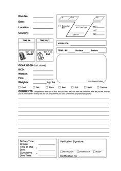 PADI PDF DIVE LOG BOOK