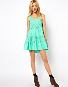 Image 4 ofASOS PETITE Exclusive Lace Insert Trapeze Dress (wear with leggings)