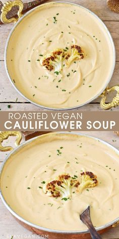 Plant Based Dinner Recipes, Vegan Dinner Recipes, Whole Food Recipes, Vegetarian Recipes, Cooking Recipes, Vegan Califlower Recipes, Cauliflower Soup Recipes, Vegan Cauliflower, Easy Vegan Soup