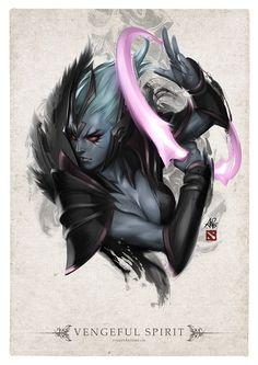 Vengeful Spirit - Portrait - from DOTA 2 Hero Portraits Dota 2 Heroes, Dark Fantasy, Fantasy Art, Dota Tattoo, Character Art, Character Design, Portrait, Defense Of The Ancients, Dota 2 Wallpaper