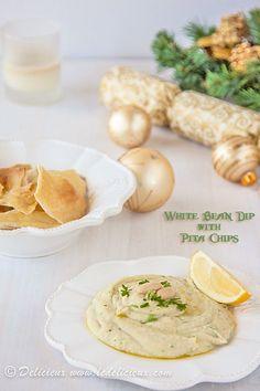 White Bean Dip with Sea Salt Pita Chips #vegetarian #vegan