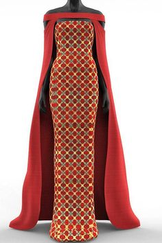 2 piece African Print Cape Maxi Fitted Dress