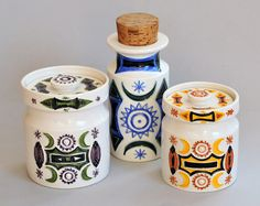 Portmeirion Pottery 'Samarkand'  A trio of storage jars showing some of the colourways used on this  design, late 1960's