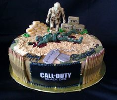 Call of Duty Cake - I had fun making this one. My husband kept telling me to edgy so I went for the red food coloring. Men love this cake lol...