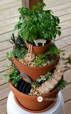 Diy Flower Pot Miniature Fairy Garden - Everyone's goal is to have a whimsical garden, and there are many ways to do that but the greatest way is by making a flower pot miniature fairy garden. First thing, you will have a lot of fun while making it, it's Mini Fairy Garden, Fairy Garden Houses, Gnome Garden, Garden Pots, Fairy Gardening, Garden Bed, Garden Stones, Herb Garden, Broken Pot Garden