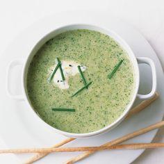 Broccoli-Leek Soup with Lemon-Chive Cream