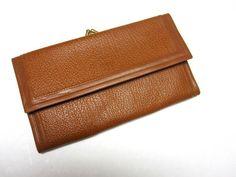 Vintage Wallet Carmel Brown Billfold Checkbook by sweetie2sweetie, $4.99