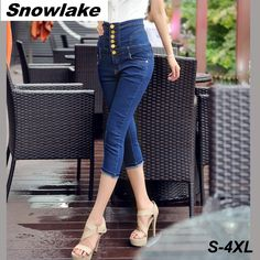 (27.42$)  Watch here - http://ai4q5.worlditems.win/all/product.php?id=32795080534 - Snowlake 2017 Summer High Waisted Calf-Length Pencil Skinny Retro Vintage Jeans