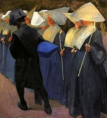 A painting of cornette-wearing Daughters of Charity by Karol Tichy, depicting a funeral in an orphanage run by the sisters (National Museum in Warsaw). [Wikipedia]
