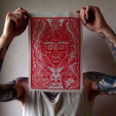 Satan with skulls and bone linocut by JackAnkersen on Etsy https://www.etsy.com/listing/223476294/satan-with-skulls-and-bone-linocut