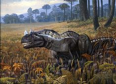 Winter morning, 2002 (mañana de invierno) Ceratosaurus nasicornis Marco A. Pineda Acrylic 35.0 x 25.0 cm A very famous jurassic predator resting on ferns ground, waiting, looking for a prey. Commen...