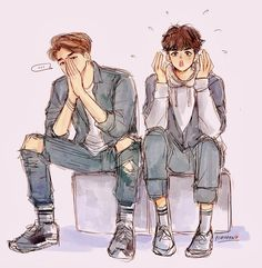 """""""Yo pup, the teacher told me to come to you for tutoring sessions. s… # Fan-Fiction # amreading # books # wattpad Cute Gay Couples, Anime Couples, Namjin, Ong Seung Woo, Cute Couple Art, Korean Couple, Bts Drawings, Handsome Anime, Kpop Fanart"""