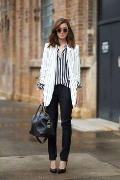 black and white striped blouse, white pinstriped blazer, black leather tote, black skinny jeans, black pumps