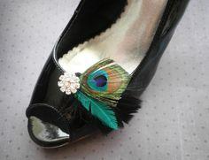 Shoe clips, Peacock, Bridal Feather Shoe Clips, Wedding shoe clips, black, teal, aqua, turqoise, green, black - PEACOCK BLACK. $28.00, via Etsy.