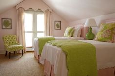 Phoebe Howard: Pretty pink & green girl's bedroom with pink walls, pink cornice box with pink drapes, .simple and clean. Different lamp. Green Girls Rooms, Pink Bedroom For Girls, Teen Girl Bedrooms, Bedroom Green, Little Girl Rooms, Pink Room, White Bedroom, Green Bedrooms, Warm Bedroom