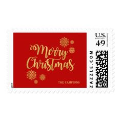 Gold Script Merry Christmas Red Holiday Postage - calligraphy gifts custom personalize diy create your own