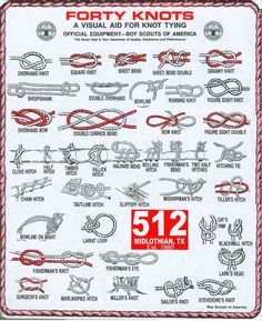 Forty survival knots to use in various situations from the Boy Scouts of America. Outdoor Survival, Survival Tips, Survival Skills, Survival Knots, Survival Weapons, Survival Stuff, Wilderness Survival, Survival Bracelets, Homestead Survival