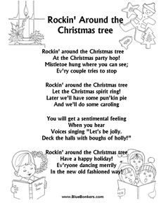 BlueBonkers: Rockin Around the Christmas Tree, Free Printable Christmas Carol Lyrics Sheets : Favorite Christmas Song Sheets