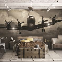 Washable nonwoven wallpaper FLY WALLPAPER 2016 Collection By Creativespace – Home office wallpaper Airplane Bedroom, Airplane Decor, Aviation Furniture, Aviation Decor, Boys Room Decor, Bedroom Decor, Wallpaper 2016, Office Wallpaper, Wall Wallpaper